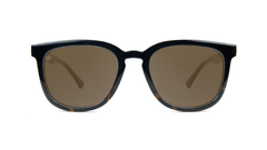 Sunglasses with Glossy Black Tortoise Shell Fade and Polarized Amber Lenses, Front