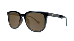 Sunglasses with Glossy Black Tortoise Shell Fade and Polarized Amber Lenses, Threequarter
