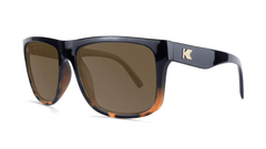 Sunglasses with Glossy Black and Tortoise Shell Fade Frame and Polarized Amber Lenses, Threequarter