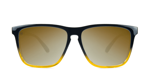 Sunglasses with Glossy Black and Amber Ice Frames and Polarized Gold Lenses, Back