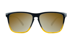 Sunglasses with Glossy Black and Amber Ice Frames and Polarized Gold Lenses, Front