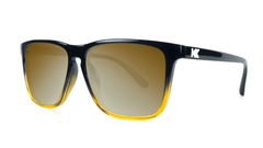 Sunglasses with Glossy Black and Amber Ice Frames and Polarized Gold Lenses, Threequarter