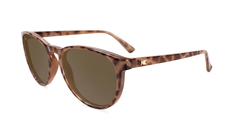 Sunglasses with Blonde Tortoise Shell Frames and Polarized Amber Lenses, Flyover