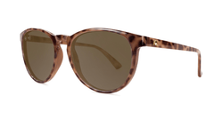 Sunglasses with Blonde Tortoise Shell Frames and Polarized Amber Lenses, Threequarter