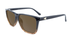 Sunglasses with Black and Blonde Tortoise Shell Fade Frames and Polarized Amber Lenses, Flyover