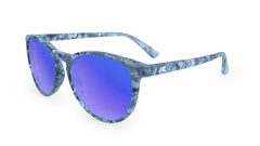 Mai Tais Sunglasses with Blue Marble Frames and Blue Mirrored Lenses, Three Quarter
