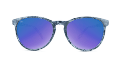 Mai Tais Sunglasses with Blue Marble Frames and Blue Mirrored Lenses, Front