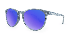 Mai Tais Sunglasses with Blue Marble Frames and Blue Mirrored Lenses, Flyover