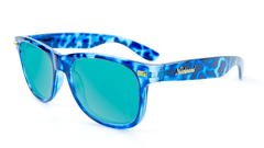 Sunglasses with Blue Tortoise Frame and Aqua Lenses, Flyover