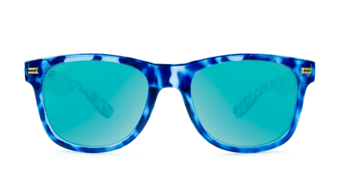 Sunglasses with Blue Tortoise Frame and Aqua Lenses, Back