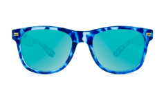 Sunglasses with Blue Tortoise Frame and Aqua Lenses, Front