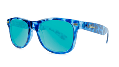 Sunglasses with Blue Tortoise Frame and Aqua Lenses, Threequarter