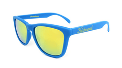 Classics Sunglasses with Azure Blue Frames and Yellow Mirrored Lenses, Flyover