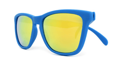 Classics Sunglasses with Azure Blue Frames and Yellow Mirrored Lenses, Folded