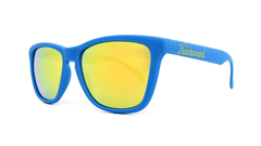 Classics Sunglasses with Azure Blue Frames and Yellow Mirrored Lenses, ThreeQuarter