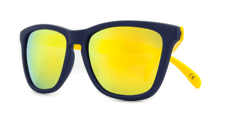 Knockaround Sunglasses Navy Blue and Yellow / Yellow Classics Front
