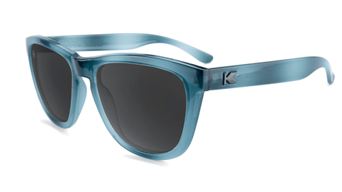 Sunglasses with Blue Lagoon Frames and Polarized Smoke Lenses, Flyover