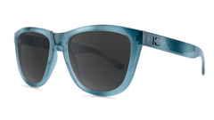 Sunglasses with Blue Lagoon Frames and Polarized Smoke Lenses, Threequarter