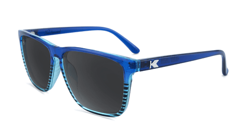 Sunglasses with Glossy Navy Blue Frame and Polarized Black Smoke Lenses, Flyover