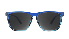 Sunglasses with Glossy Navy Blue Frame and Polarized Black Smoke Lenses, Front