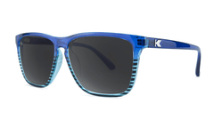 Sunglasses with Glossy Navy Blue Frame and Polarized Black Smoke Lenses, Threequarter