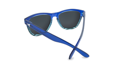 Sunglasses with Navy Blue and Sky Blue Frames and Polarized Black Smoke Lenses, Back