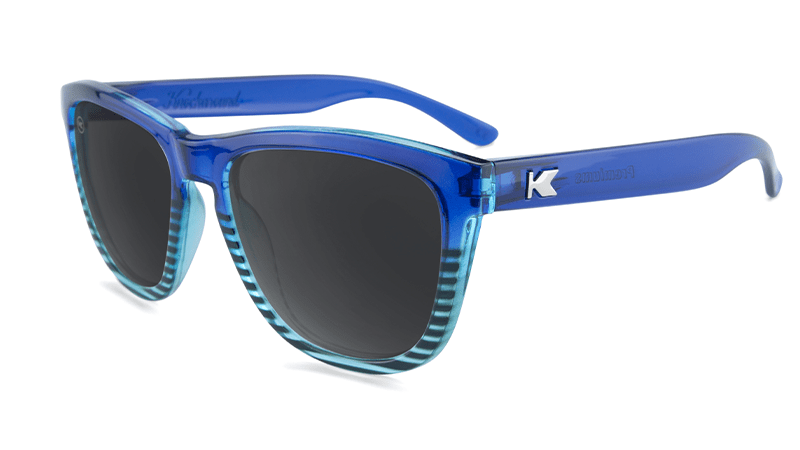 Sunglasses with Navy Blue and Sky Blue Frames and Polarized Black Smoke Lenses, Flyover