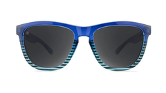 Sunglasses with Navy Blue and Sky Blue Frames and Polarized Black Smoke Lenses, Front