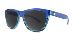 Sunglasses with Navy Blue and Sky Blue Frames and Polarized Black Smoke Lenses, Threequarter