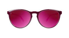 Sunglasses with Burgundy Watermelon Geode Frames and Polarized Fuchsia Lenses, Front