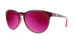 Sunglasses with Burgundy Watermelon Geode Frames and Polarized Fuchsia Lenses, Threequarter