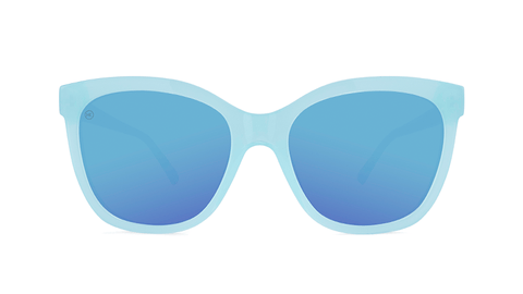 Sunglasses with Chill Blue Frames and Polarized Aqua Lenses, Back