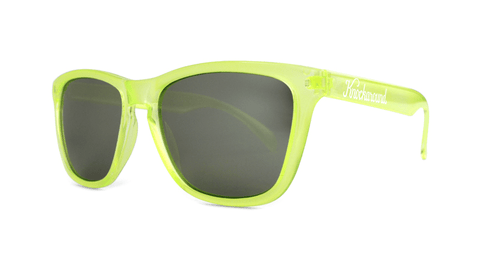 Sunglasses with Yellow Citrus Frames and Black Smoke Lenses, ThreeQuarter