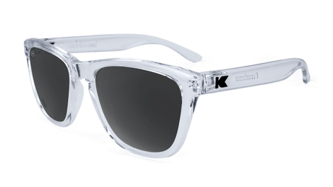 Premiums Sunglasses with Clear Frames and Black Smoke Lenses, Flyover