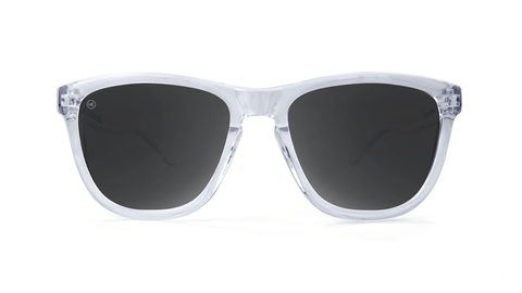Premiums Sunglasses with Clear Frames and Black Smoke Lenses, Back