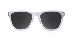 Premiums Sunglasses with Clear Frames and Black Smoke Lenses, Front