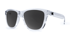 Premiums Sunglasses with Clear Frames and Black Smoke Lenses, ThreeQuarter