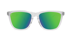 Sunglasses with Clear Frames and Polarized Green Moonshine Lenses, Front