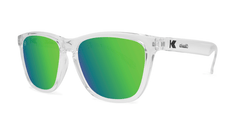 Sunglasses with Clear Frames and Polarized Green Moonshine Lenses, Threequarter