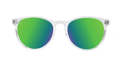 Sunglasses with Clear Frame and Polarized Green Moonshine Lenses, Front