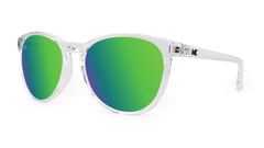 Sunglasses with Clear Frame and Polarized Green Moonshine Lenses, Threequarter