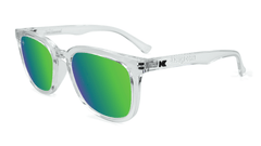 Sunglasses with Clear Frame and Polarized Green Moonshine Lenses, Flyover