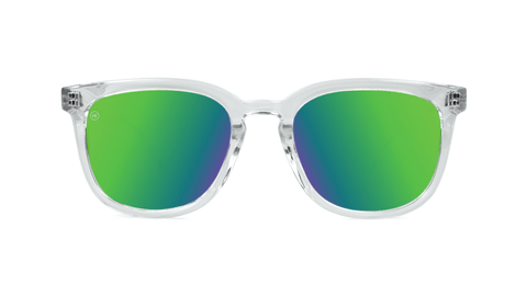 Sunglasses with Clear Frame and Polarized Green Moonshine Lenses, Back