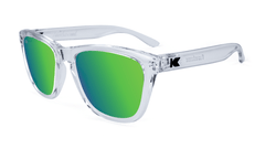 Premiums Sunglasses with Clear Frames and Green Moonshine Mirrored Lenses, Flyover