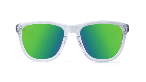 Premiums Sunglasses with Clear Frames and Green Moonshine Mirrored Lenses, Back