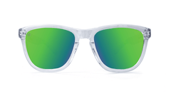 Premiums Sunglasses with Clear Frames and Green Moonshine Mirrored Lenses, Front