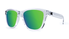 Premiums Sunglasses with Clear Frames and Green Moonshine Mirrored Lenses, Threequarter