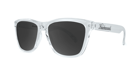 Sunglasses with Clear Frames and Black Smoke Lenses, Three Quarter