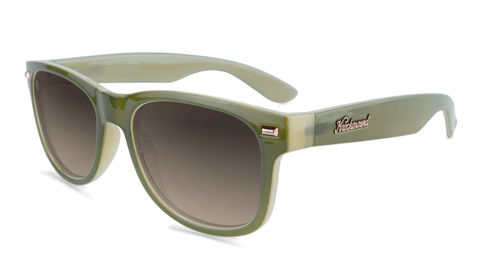 Sunglasses with Dark Green and Dessert Sand Frames with Polarized Amber Gradient Lenses, Flyover
