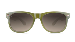Sunglasses with Dark Green and Dessert Sand Frames with Polarized Amber Gradient Lenses, Front